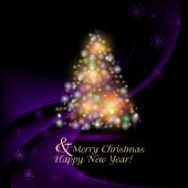 Abstract Christmas background of purple snowflakes and Christmas — Stock Photo