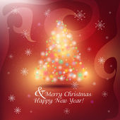 Abstract Christmas background with snowflakes and Christmas tree — 图库照片