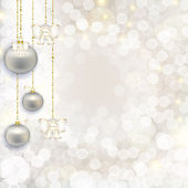 Christmas abstract background with hanging balls with a gentle b — Stock Photo