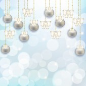 Abstract background with Christmas balls and ribbons — Stock Photo