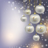 Silver Christmas decorations on a Christmas background — Stock fotografie