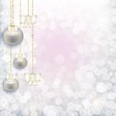 Christmas abstract background with hanging pearl balls with a ge — Stock Photo