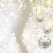 Christmas hanging balls on abstract pearl background with highli — Stock Photo