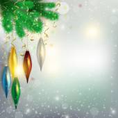 Twigs of the tree with hanging colorful toys and aircraft flying — Foto Stock