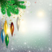 Twigs of the tree with hanging colorful toys and aircraft flying — Stok fotoğraf