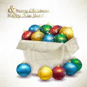 Box Christmas colored balls — Vector de stock