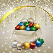 Box of Christmas balls — Vettoriale Stock