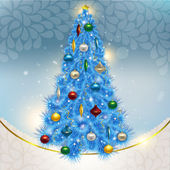 Abstract background with elegant Christmas blue Christmas tree w — Stock Photo