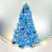 Abstract background with elegant Christmas blue Christmas tree w — Stockfoto