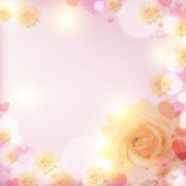 Blooming white rose in the glare from sunlight on a pink backgro — Stock Photo