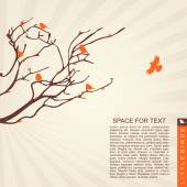 Little birds on the branches — Stock Vector