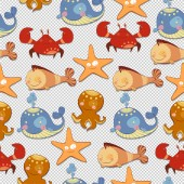 Seamless background of sea creatures — Stock Photo