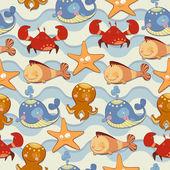 Seamless texture of their marine life — Stock Photo