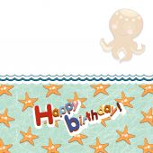 Children frame with octopus and a sea star — Stock Photo