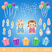 Gala set for birthday party girl and boy. — Stock Vector