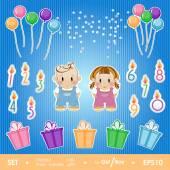 Gala set for birthday party girl and boy. — Stock vektor