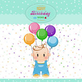 Little boy with inflatable balls and stars. The birthday child — Stock Vector