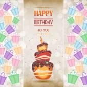 Pasta ile tinsel bir kutlama için. Pasta ve hediyeler. Lezzetli — Stok Vektör