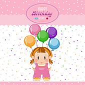 Little girl with bouncy balls and stars. The birthday child — Cтоковый вектор