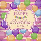 Greeting card birthday. Bright greeting card with transparent ba — ストックベクタ