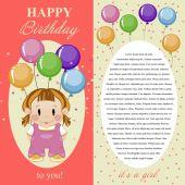 Greeting card for baby girl. Happy birthday. — ストックベクタ
