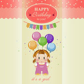 Greeting card for baby girl's birthday. — Stock Vector