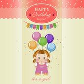 Greeting card for baby girl's birthday. — ストックベクタ
