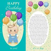 Happy birthday to you. Gift card, note for the boy. — Stock vektor
