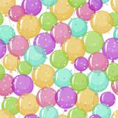 Seamless pattern of stylized, colored, transparent, inflatable balls with stars. — ストックベクタ