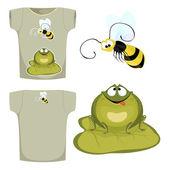 De afbeelding op het shirt. De foto van groene kikker ronde kijken th — Stockvector