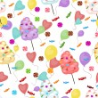 Seamless pattern of sweets, cotton candy, lollipops — Stock Vector #73374611