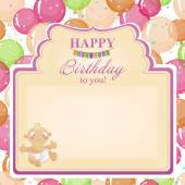 Childrens congratulatory background with a birthday for girls.  — 图库矢量图片