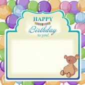 Childrens greeting background with the birthday boy. — Stock Vector