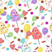 Seamless pattern of sweets, cotton candy, lollipops — Stock Vector