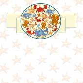 Round frame with colorful marine life — Stock Vector