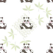 Seamless background from a different funny Panda — Stock Vector