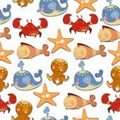 Seamless background of marine animals — Stock Vector