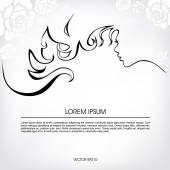 Abstract silhouette of a girl with flowing hair, — Stock Vector