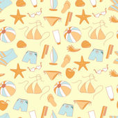 Seamless pattern summer collection of swimwear, shorts, ball — Stock Vector