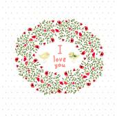 Floral postcard. Vector image cards Declaration of love. — Stock Vector