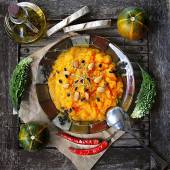 Pumpkin puree with dried meat — Stock Photo