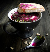 Cold beet soup with bread — Stock Photo