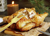 Baked chicken for Christmas — Stock Photo