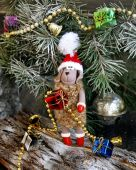 Christmas fur-tree toy sheep symbol 2015 — Stockfoto