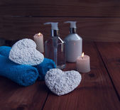 Bathroom and spa, towels, bath, bathroom hearts for Valentines — Stock Photo