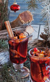 Cup of hot mulled wine for Christmas — Stock Photo