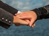 Business team putting hands togeather — Stock Photo
