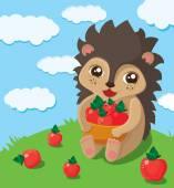Little cute hedgehog — Stock Vector