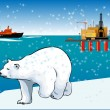 Polar bear and icebreaker — Stock Vector #56066675