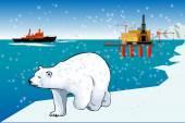 Polar bear and icebreaker — Stock Vector